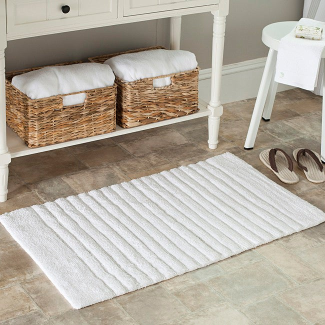 Safavieh Spa 2400 Gram Stripes White 21 x 34 Bath Rug (Set of 2)