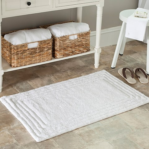 "Safavieh Spa Luxury 2400 Gram White Bath Mat (Set of 2) - 2'3"" x 3'9"""