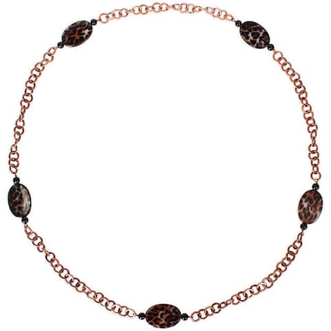 Miadora Goldtone Leopard and Onyx Bead Fashion Necklace