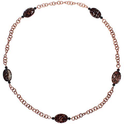 Miadora Goldtone Leopard and Onyx Bead Fashion Necklace