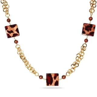 Miadora Goldtone Leopard Print 32-inch Fashion Necklace