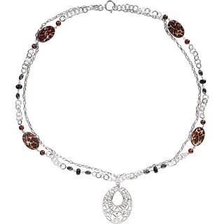 M by Miadora Freshwater Pearl Leopard Print Necklace (32-inch)