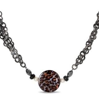 Miadora Goldtone Leopard Print 28-inch Fashion Necklace