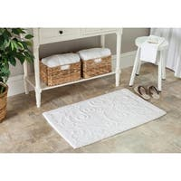Safavieh Spa 2400 Gram Scrolls White 21 x 34 Bath Rug (Set of 2) - 21 x 34