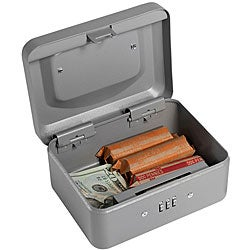 Barska Gray Six-inch Metal Combination-lock Three-comparment Cash Box