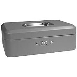 Barska 10-inch Gray Steel Cash Box with Combination Lock and Tray