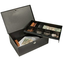 Barska 17-inch Cash Box and 6 Compartment Coin Tray with Key Lock