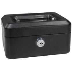 Barska Six-inch Black Steel Three-compartment Cash Box with Key Lock
