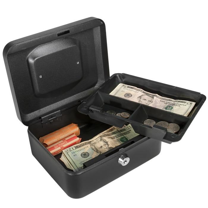 8-inch Black Cash Box with Key Lock
