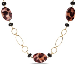 M by Miadora Goldtone Leopard Bead 30-inch Fashion Necklace