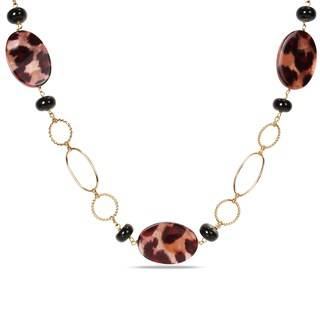 Miadora Goldtone Leopard Bead 30-inch Fashion Necklace