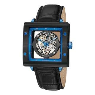 Stuhrling Original Men's Automatic Zolara Square Leather Strap Watch