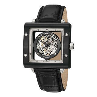 Stuhrling Original Men's Automatic Zolara Square Water-resistant Leather-strap Watch