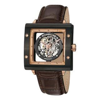 Stuhrling Original Men's Automatic Zolara Square Brown Leather Strap Watch