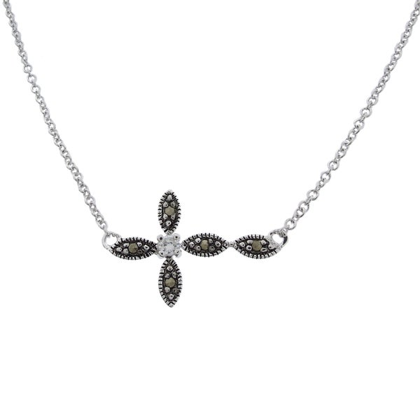 Dolce Giavonna Silverplated Cubic Zirconia Marcasite Sideways Cross Necklace