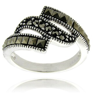 Dolce Giavonna Silver Overlay Marcasite Wave Design Ring (2 options available)
