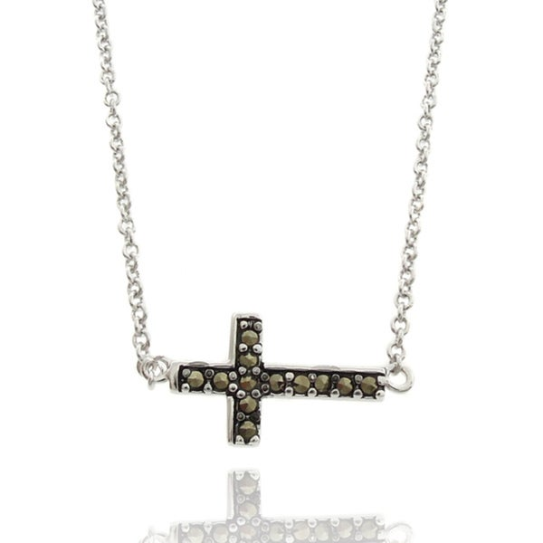 Dolce Giavonna Silverplated Marcasite Sideways Cross Necklace