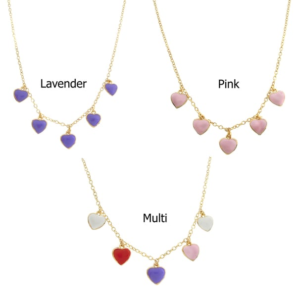 Molly and Emma 14k Gold Overlay Enamel Children's Heart Charm Necklace