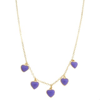 Molly and Emma 14k Gold Overlay Enamel Children's Heart Charm Necklace (3 options available)