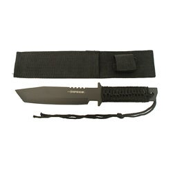 Defender 11-inch Black Tanto Knife with Sheath