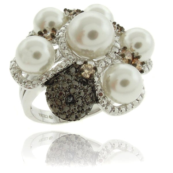 Dolce Giavonna Silver Overlay Simulated Pearl Diamond Accent Flower Ring