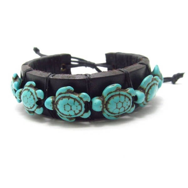 Handmade Swimming Sea Turtles Turquoise Stones Leather Beach Bracelet (Thailand)