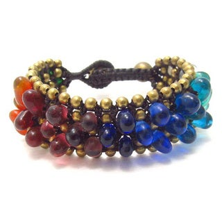 Rainbow Bubbles Glass Embedded Cotton Rope Bracelet (Thailand)