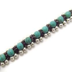 Handmade Tribal Love Turquoise Single Strand Toggle Bracelet (Thailand) - Thumbnail 1