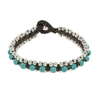 Handmade Tribal Love Turquoise Single Strand Toggle Bracelet (Thailand)