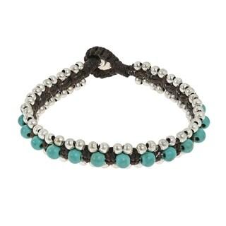 Handmade Tribal Turquoise Single Strand Toggle Bracelet (Thailand) - Blue