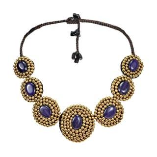 Handmade Purple Amethyst Brass Bead Necklace Thailand
