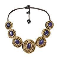 Handmade Purple Amethyst Brass Bead Necklace (Thailand)