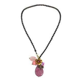 Handmade Purple Teardrop Goldstone Cluster Garden Necklace (Thailand)