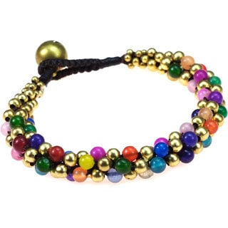 Handmade Weave Multi-stone Toggle Bracelet (Thailand)