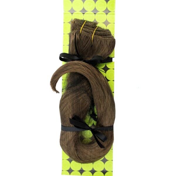 Donna Bella #6/10 (Dark Chestnut/Medium Ash) 16-inch Synthetic Full Head Hair Extensions