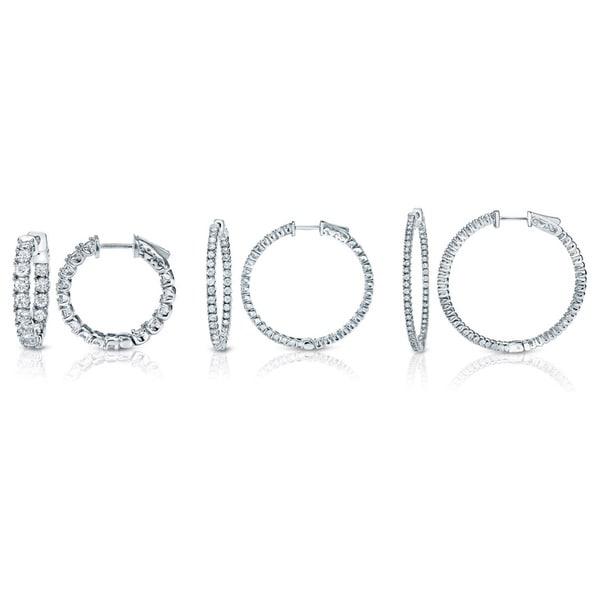 Auriya 14k White or Yellow Gold 3ct TDW 33MM Diamond Hoop Earrings (J-K, I1-I2)