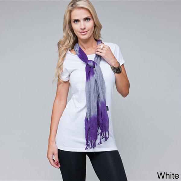 Stanzino Women's Casual Cap Sleeve Tee with Detachable Scarf