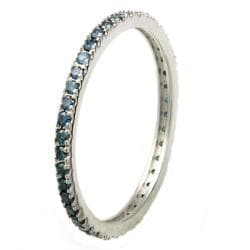 Beverly Hills Charm 10k White Gold 1/3ct TDW Blue Diamonds Eternity Stackable Band Ring