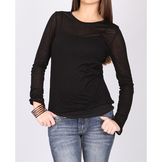 Norma Jeane Juniors 'Girl's Best Friend' Sheer Black Long Sleeve Tee