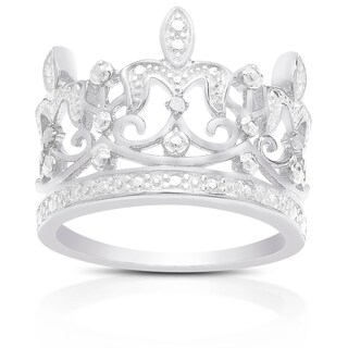 Finesque Sterling Silver Diamond Accent Crown Ring (More options available)
