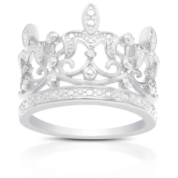 Finesque Sterling Silver Diamond Accent Crown Ring