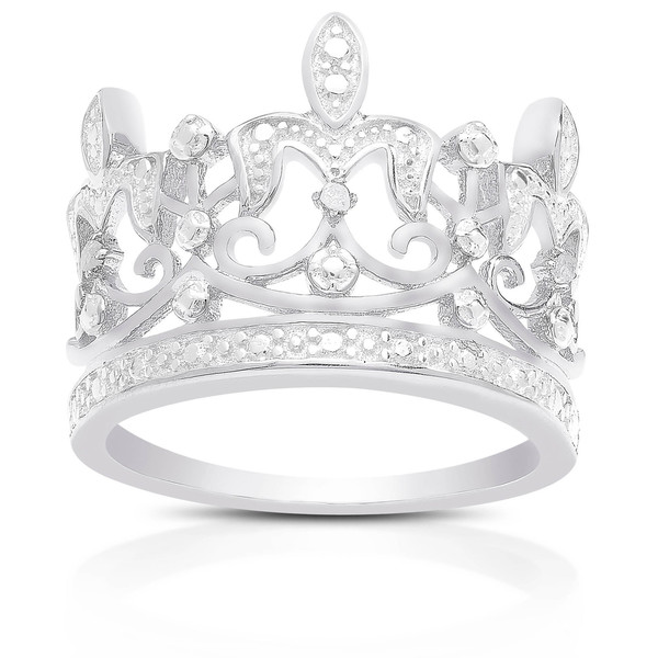 Finesque Sterling Silver Diamond Accent Crown Ring (I-J, I2-I3)