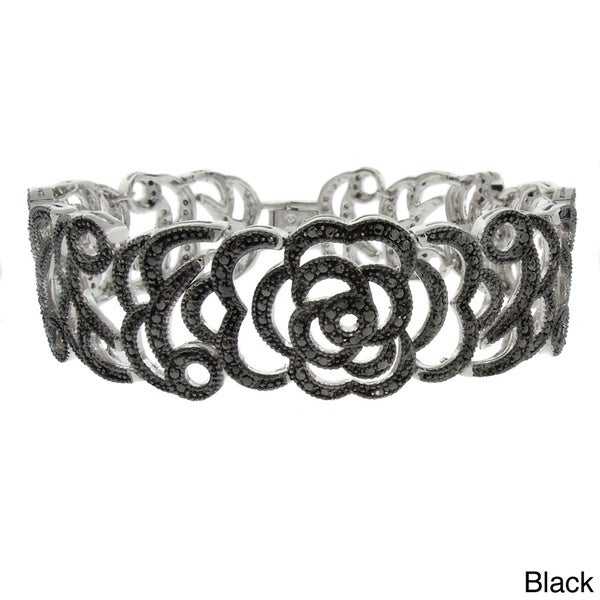 Finesque Diamond Accent Flower Bracelet (I-J, I2-I3)
