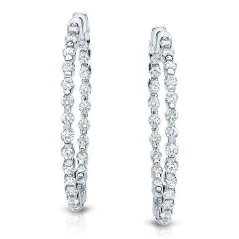 Auriya 14k Gold 2 1/2 carat TW Shared Prong Medium Diamond Hoop Earrings - 1.29-inch