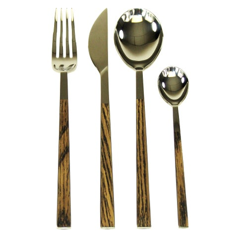 Red Vanilla Queen Sushi 24-Piece Simulated-Wenge-Wood Flatware Set