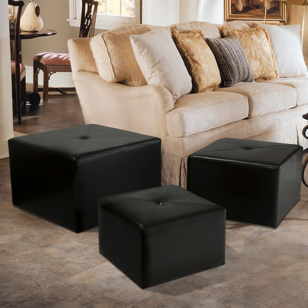 Juniper Leather Nested Ottomans (Set of 3) by Christopher Knight Home
