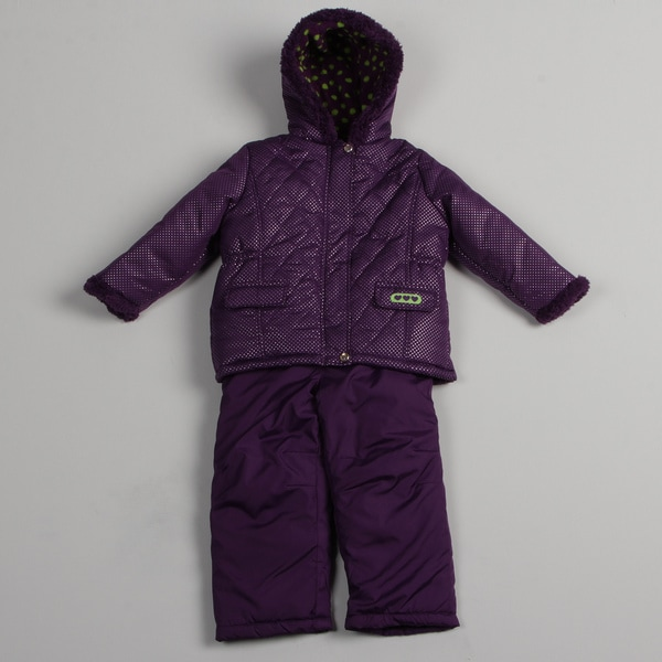 Pink Platinum Girls' Purple Puffer Snowsuit