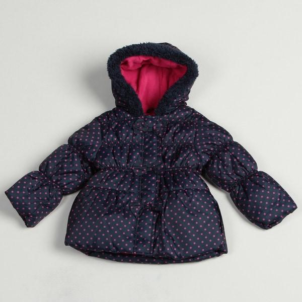 fb5e9ce63 Shop Pink Platinum Girl s Navy Polka-dot Puffer Jacket - Free ...