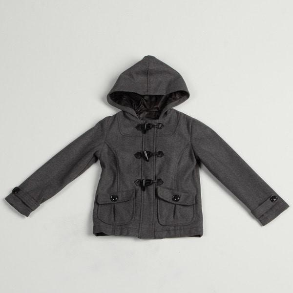 Velvet Chic Girl's Solid Charcoal Hooded Jacket