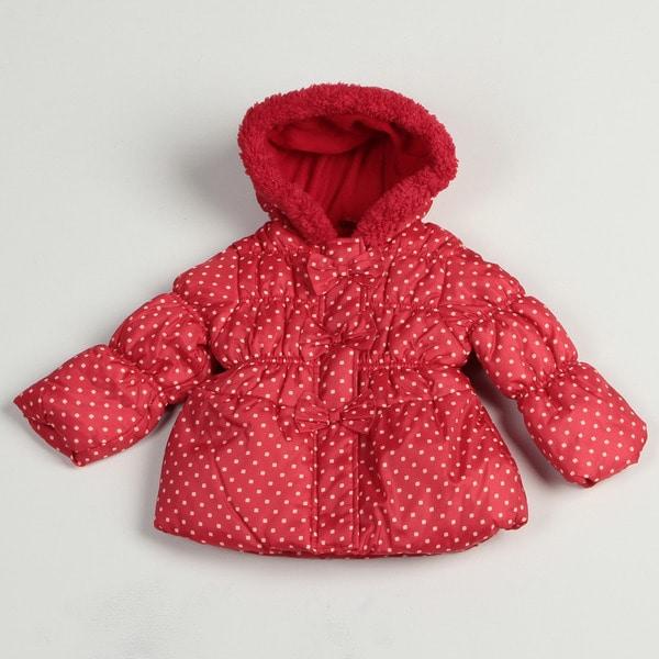 Pink Platinum Toddler Girl's Red Polka Dot Puffer Jacket